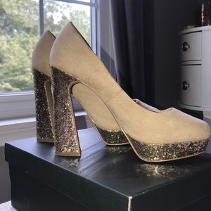 Elle brand, tan suede with gold glitter heels